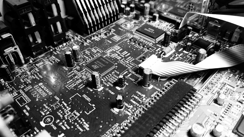Indoors  No People Technology PCB Condenser Black And White Black & White Blackandwhite Photography High Angle View Close-up
