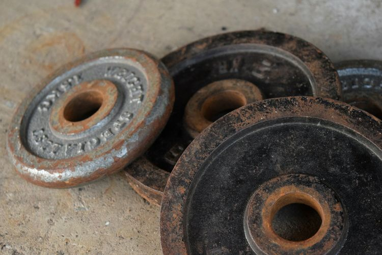 Circle Indoors  No People Rusty Close-up Day Metal Industry Steel Steel Weights