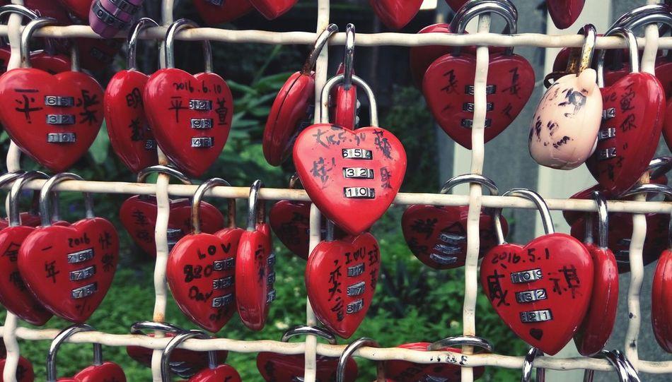 Red Padlock Text Love Hanging Lock Metal Full Frame Close-up Love Padlocks Love Padlock Red Heart Romantic Taiwan Hexing Station Hexing