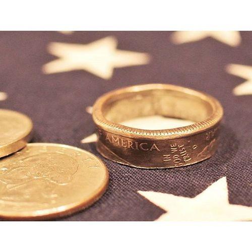旅行で余ったコイン でDIY リング 作成 メチャムズ (笑)1日がかりハンドメイド リメイク 手作り InGodWeTrust Handmade Remake Metalwork Quarter  Coinring Coin Ring Jewellery Japan
