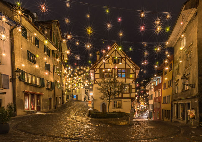 New Year's Day in Baden Architecture Dark Lights Old Town Architecture Building Exterior Built Structure Christmas Decoration City Colorful Illuminated Long Exposure Night No People Rainy Street