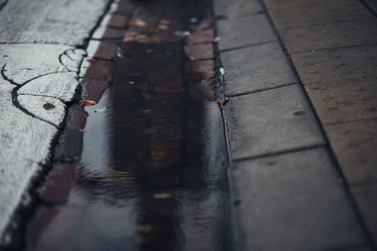 Close-up of puddle on street