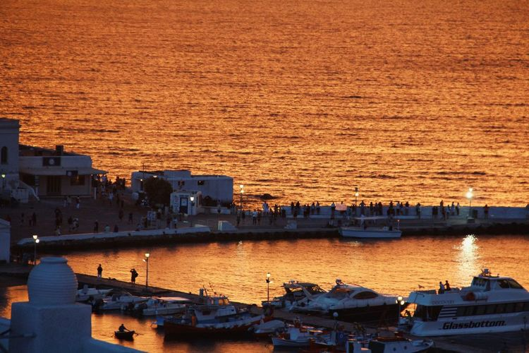 Amazing sunset in mykonos!! Water Built Structure Sunset No People Architecture Building Exterior Nautical Vessel Outdoors Sea Tranquility Nature Beauty In Nature Sky Day Sunset_collection Mykonos Mykonostown