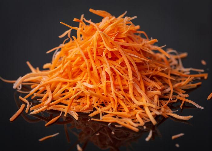 Close-up of orange against black background