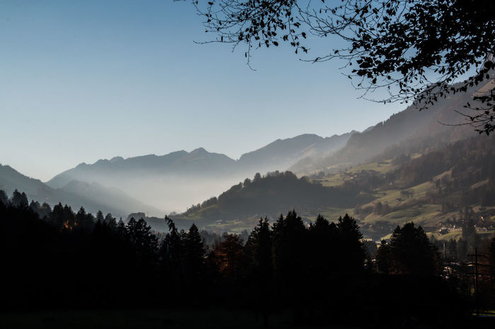 Blick ins Simmental Berner Oberland Landscape_Collection Nature Simmental Sonnenstrahlen Sunset_collection Tranquil Scene Tranquility