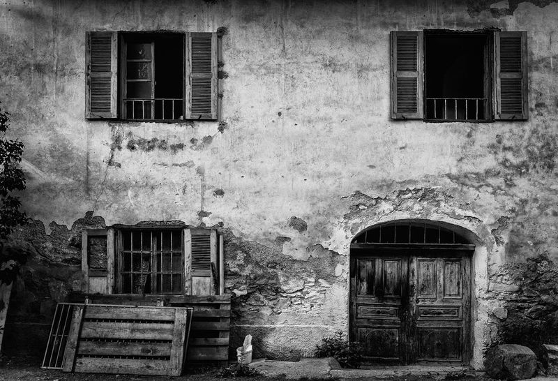 Old House Abandoned Architecture Black And White Brick Wall Building Building Exterior Built Structure Closed Day Door Exterior Façade House Low Angle View No People Old Outdoors Residential Building Residential Structure Weathered Window