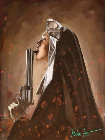 The nun : machete... Art Digital Art Drawing Painting autodesk sketchbook pro ipad app