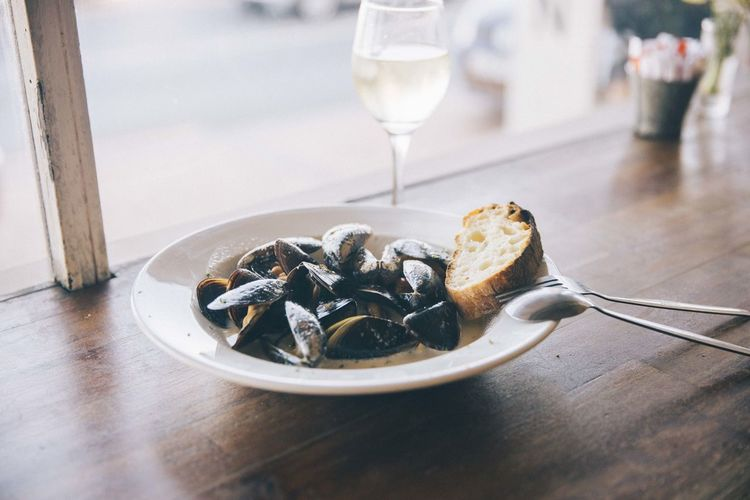 Alcohol Drink Food Food And Drink Glass Indoors  Italian Food Mussel No People Ready-to-eat Seafood Wine