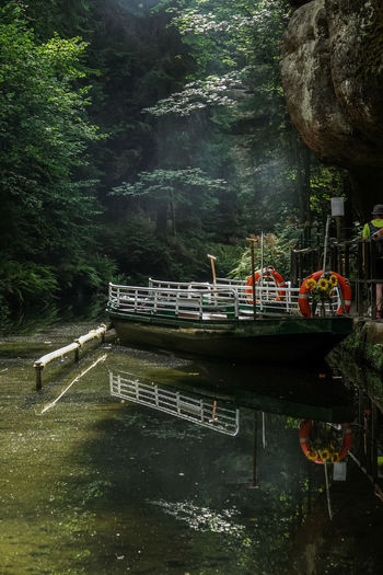 Kahnfahrt Klamm Kirnitzschtal Klamm Und Wasser Beauty In Nature Bootsfahrt Day Forest Mode Of Transportation Moored Nature Nautical Vessel No People Obere Schleuse Outdoors Passenger Craft Plant Reflection River Scenics - Nature Tranquility Transportation Tree Water Waterfront