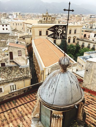 Architecture Building Exterior Built Structure City Cityscape Sculpture No People Day Outdoors Sky Cross Sicily From High Above Church Architecture Church Urban Geometry On The Roof Cityscape Travel Destinations Roof House Dome Place Of Worship Crowded Residential Building Neighborhood Map The Architect - 2017 EyeEm Awards