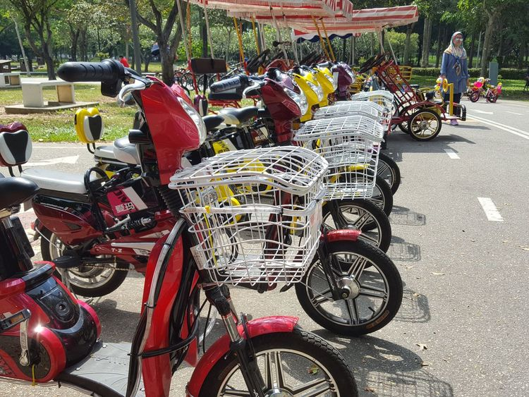 Row of electric bicycle.Bicycle Transportation Mode Of Transport Stationary Bicycle Rack In A Row Land Vehicle Day Outdoors Large Group Of Objects No People Tasik Titiwangsa Lake View Malaysia