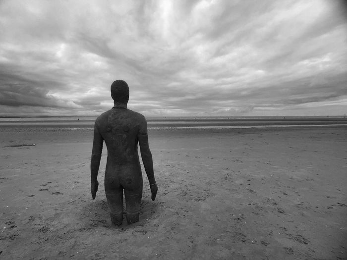 IPhoneography Blackandwhite Black And White Clouds And Sky Statue Sky And Clouds Beach Another Place Beach Life Antony Gormley Cloud And Sky ShotOniPhone6 Shot On Moment Shot On IPhone 6
