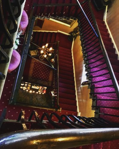Staircase in a 14th century castle Lumley Castle Castle Indoors  Illuminated Night No People Architecture High Angle View Built Structure Multi Colored Decoration Staircase Pattern Steps And Staircases Light