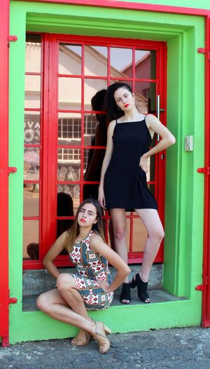 Friendship And Fashion Fusion Front View Full Length Lifestyles Outdoors Posing Work It Girls Young Women