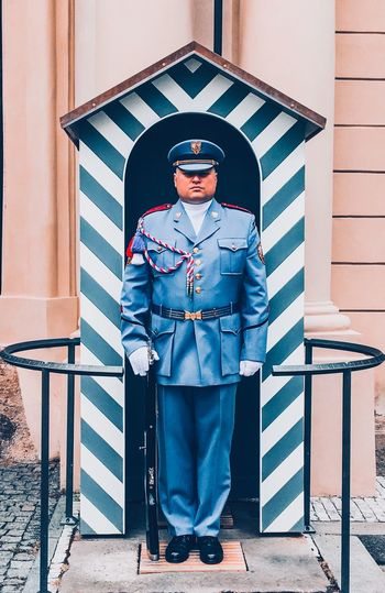 Stripes Color Story Blue Prague Royalty Soldier Bright Cultures Culture Full Length Real People Standing Lifestyles Security Portrait Day First Eyeem Photo