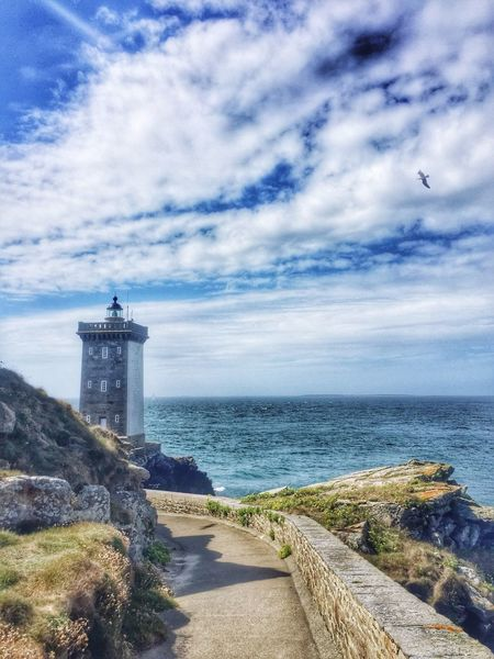 Le Conquet, Bretagne, France / 2016 Sea Lighthouse Water Sky Horizon Over Water Scenics Direction Architecture Cloud - Sky Tranquil Scene Nature Built Structure Beauty In Nature Outdoors Tranquility Day Guidance Building Exterior Blue Beach France