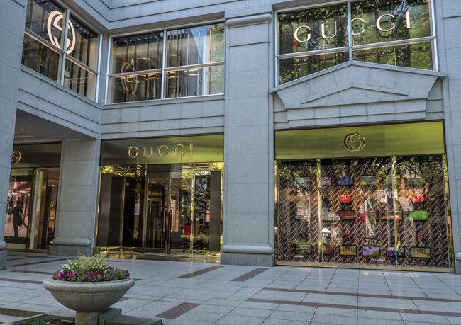 Gucci retail store at Omotesando shopping district, Tokyo, Japan Brand Display District Expensive GUCCI Omotesando People Product Retail  Sell Shopping Store Street Tokyo