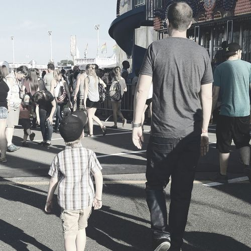 Daddy And Son Taking Photos Enjoying Life Moments Of Life