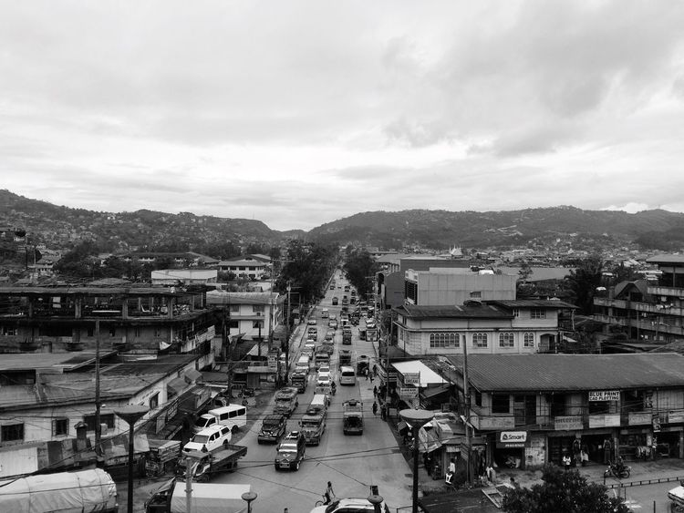 Black And White Friday Architecture Built Structure Transportation Building Exterior High Angle View Car Jeepney Sky Road Street Land Vehicle Mode Of Transport Day Province Outdoors Residential Building