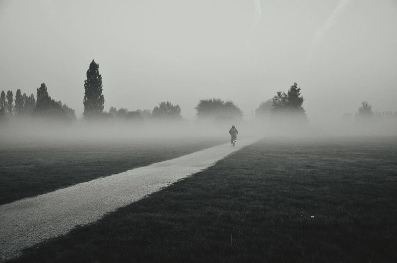 Rear View Of Man Riding Bicycle On Road In Foggy Weather