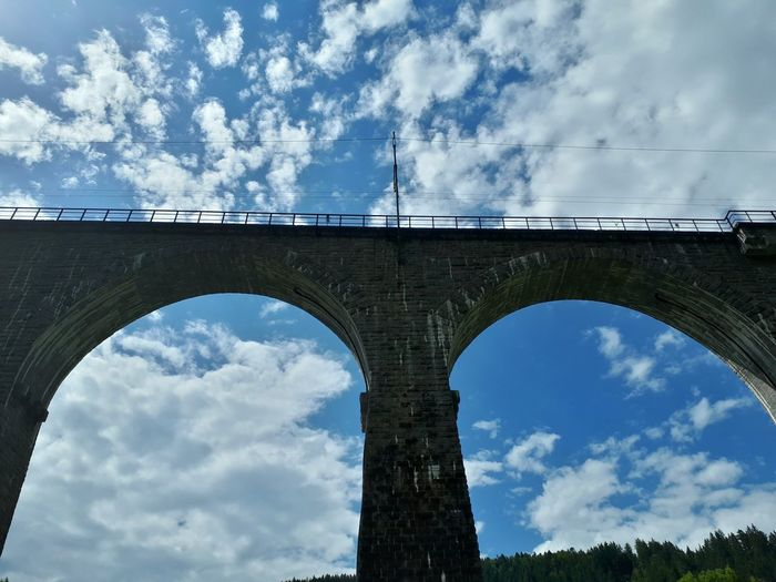 Connection Bridge - Man Made Structure Cloud - Sky Arch Architecture Sky Built Structure Day Low Angle View Outdoors No People City Architecture Architectural Detail Dramatic Sky Landscape Colorful Blue Mountain Forest Travel Destinations Germany