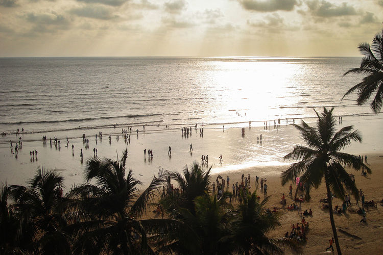 Juhu Beach sunset Beach Beauty In Nature Coconut Palm Tree Growth Horizon Horizon Over Water Land Nature No People Outdoors Palm Tree Plant Scenics - Nature Sea Sky Sunset Tranquil Scene Tranquility Tree Tropical Climate Water