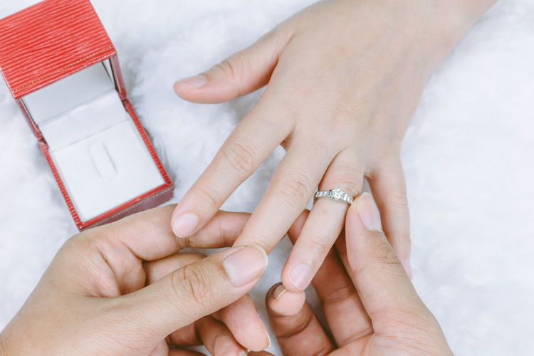 Cropped Hands Of Man Inserting Diamond Ring In Woman Finger
