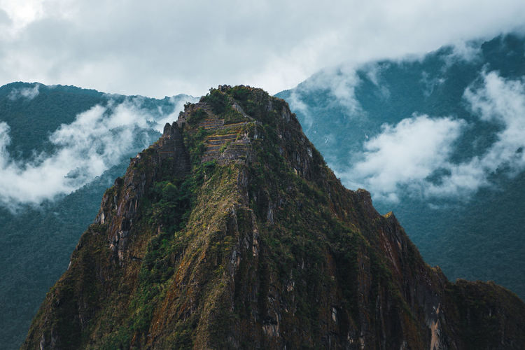Low angle view of mt huayna picchu against sky