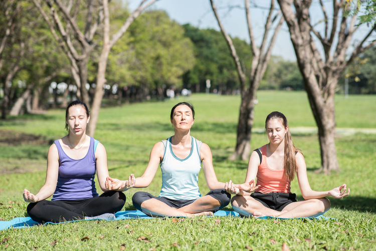Balance Beauty In Nature Comfortable Cross-legged Exercising Grass Group Of People Healthy Lifestyle Lawn Lifestyles Lotus Position Meditating Outdoors Real People Relaxation Relaxation Exercise Sitting Sports Clothing Tranquil Scene Tree Wellbeing Women Yoga Yoga Class Zen-like