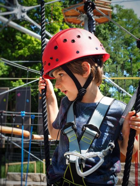 Boy Kid Helmet Climbing Climber Slope Climbers Dangerous Tower Outdoors Portrait Safety Safety First! Mut
