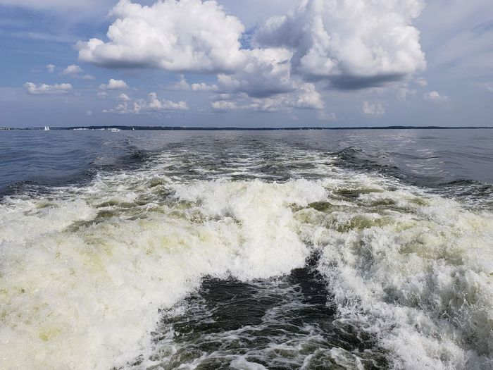Wake - Water Clouds And Sky Open Water Wave Tourism Bay Chesapeake Bay Maryland Boat Ride Boat Wake Beauty In Nature Beautiful Tranquility Tranquil Scene Water Backgrounds Blue Atmospheric Mood Dramatic Sky Rushing Cloudscape Romantic Sky Cumulonimbus Cumulus Cloud Moody Sky
