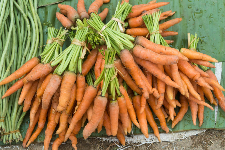 Close-up of fresh carrots in market