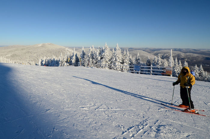Mont Tremblant, Qc Adventure Beauty In Nature Clear Sky Cold Temperature Day Landscape Leisure Activity Lifestyles Mountain Nature One Person Outdoors Real People Rear View Scenics Ski Holiday Skiing Snow Sport Sunlight Tranquil Scene Vacations Winter Winter Sport