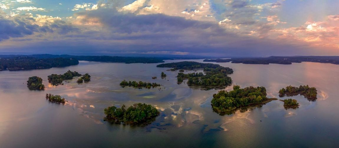 Reflections on the water. Tennessee River  DJI Mavic Air DJI X Eyeem EyeEm Selects Water Sky Cloud - Sky Scenics - Nature Tranquility Beauty In Nature Tranquil Scene Sunset No People Idyllic Land Environment Non-urban Scene Outdoors Reflection Nature Tree Sea