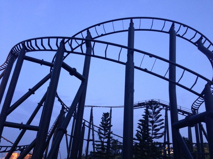 Low Angle View Of Silhouette Rollercoaster Against Clear Blue Sky At Dusk
