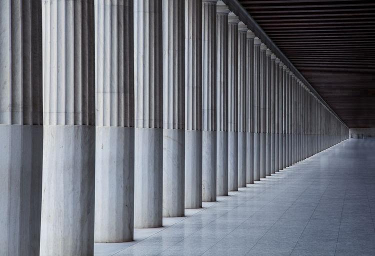 Row Of Columns In Corridor