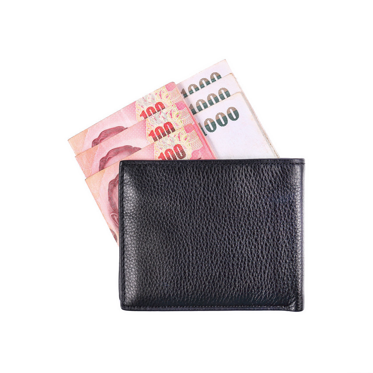 currency, finance, business, wealth, paper currency, studio shot, white background, cut out, indoors, close-up, wallet, savings, pocket, no people, leather, number, success, copy space, single object, making money