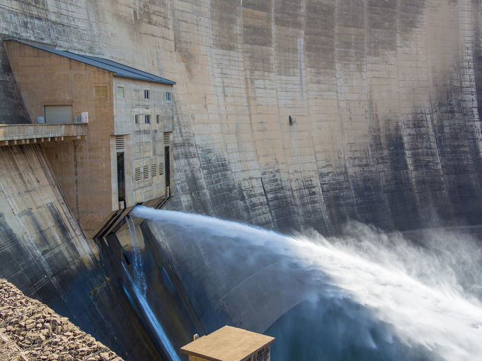 Hydroelectric Power Hydro Power Hydro Dam Power Plant Lesotho Katsedam Katse Dam African Africa Concrete Concrete Wall Flowing Water Flowing Reservoir