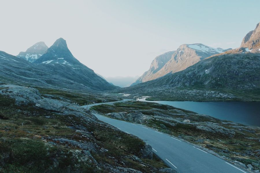Off the grid. Mountain Mountain Range Scenics Road Landscape Outdoors Mountain Peak Travel Destinations No People Water Nature Sky Day Norway Scandinavia Tranquility Beauty In Nature Trollstigen