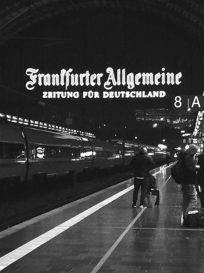 Frankfurt train station FAZ Frankfurt Train Station Advertising Faz Frankfurter Allgemeine Night Platform Waiting Train Ice Forward Light Illuminated