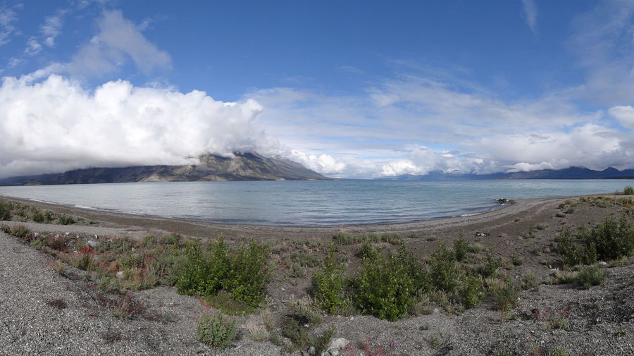 Beach Beauty In Nature Canada Cloud - Sky Day Horizon Over Water Kluane Lake Kluane National Park & Reserve Landscape Nature No People Outdoors Scenics Sky Tranquil Scene Tranquility Water Yukon
