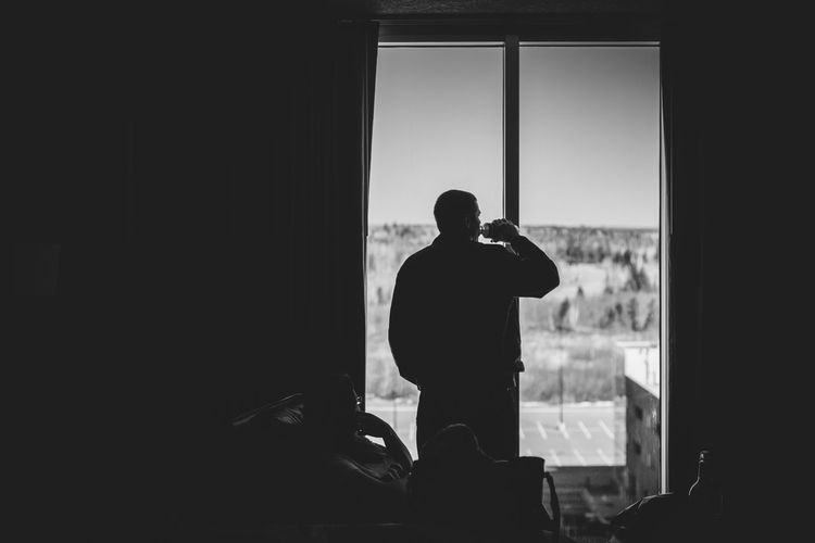 Curtains Drinking Hotel Room Morning Pondering Silhouette Standing In The Windo Window
