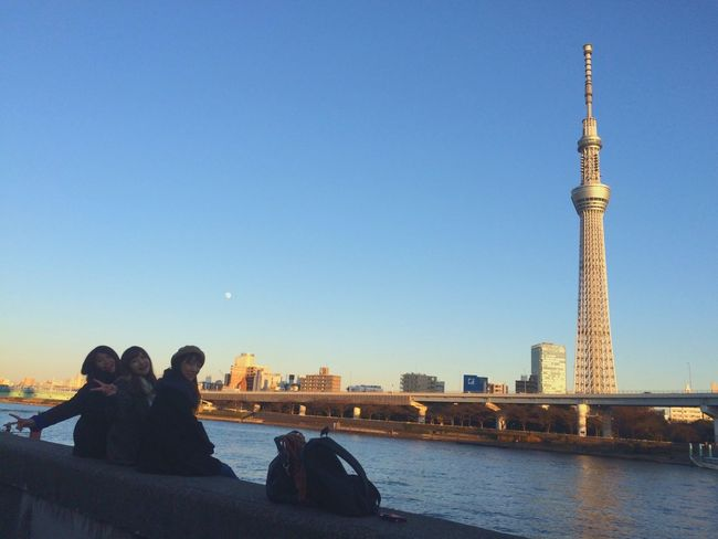 Tokyo Skytree Walking Around Sumidariver Asakusa Taking Pictures Friend