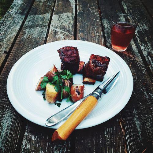 Food Porn Awards BBQ short ribs, roasted new potatoes and parsley salad, rosé