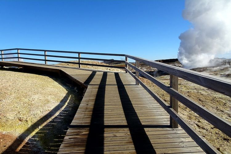Staircase Railing Steps Clear Sky Social Issues Outdoors Nature Sky Steps And Staircases Elevated Walkway Day No People Power In Nature Smoke - Physical Structure Beauty In Nature Iceland