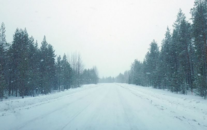 Beauty In Nature Clear Sky Cold Temperature Day Frozen Landscape Nature No People Outdoors Road Scenics Sky Snow Snowing Snowing ❄ The Way Forward Tranquil Scene Tranquility Transportation Tree Weather White Color Winter