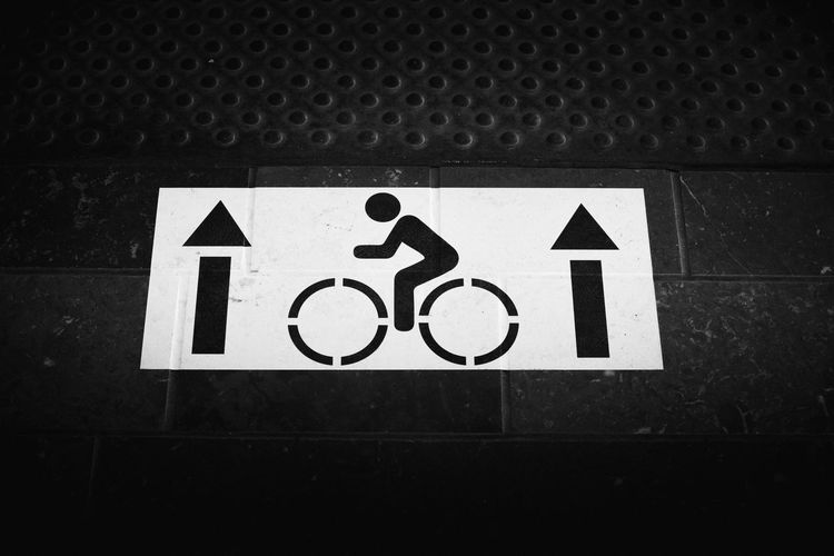 Beware of bike riders Safety Guidance Blackandwhite Road Sign Art Is Everywhere No People Communication