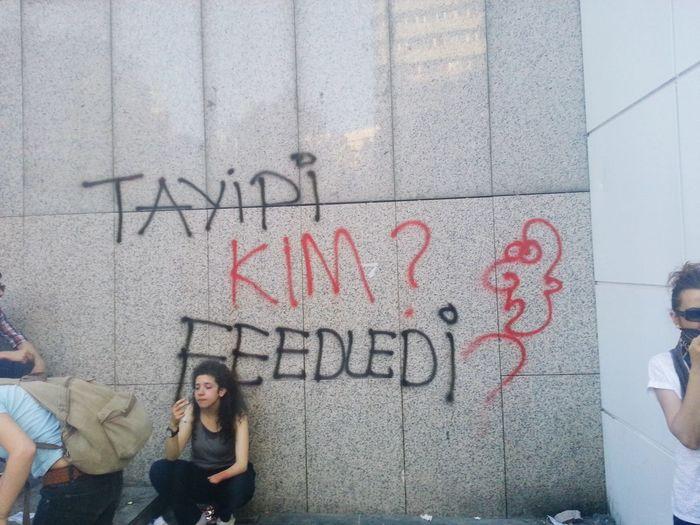 """Who fed Tayyip?"" - Oh you little Erdoguy... Wall Painting/grafitti Slogan Turkey Protests Gezi Park Geziparki Gezi Park Protest Erdogan Recep Tayyip Erdogan Moba Moba Games Ankara Kızılay Kizilay Occupation Text Social Issues Protestor Graffiti Spray Paint Street Art Riot"