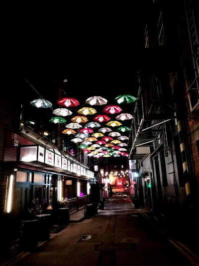 back streets of Dublin Night Lights Nightlife Dublin Ireland City Nightclub Alleyway Umbrellas Cover Night Illuminated Low Angle View Architecture Celebration Built Structure Building Exterior City No People Multi Colored Outdoors