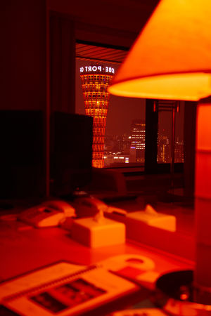 Kobe-shi, Japan. Kobe Port Tower Abstract Architecture City Hotel Illuminated Indoors  Japan Japan Photography Japanese  Kobe Kobe Port Tower Kobe-shi,Japan Kōbe-shi Lamp Mirror No People Port Red Red Reflection Room Tower Travel Travel Destinations Traveling